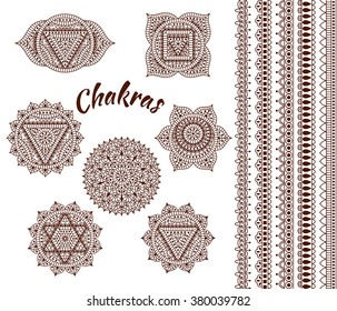 Set of seven chakras. Oriental ornaments and borders for henna tattoo and for your design. Buddhism decorative elements. Vector illustration.