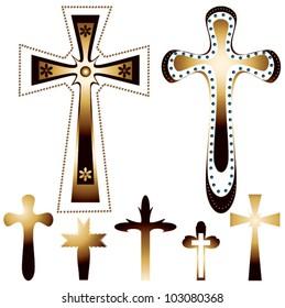 set of seven christian crosses - vector illustration