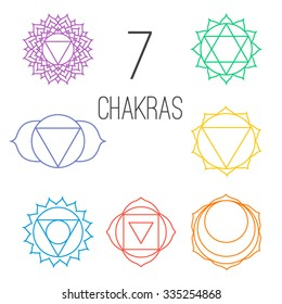 Set of seven colorful chakras. Linear character illustration of Hinduism and Buddhism. For design, associated with yoga and India.