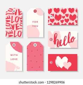 A set of seven cute romantic gift tag templates in red, pastel pink and white. Valentine's day/ wedding favors, birthday present label vector designs.