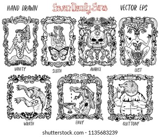 Set with seven deadly sins concept, black and white vector collection. Hand drawn engraved illustration, tattoo and t-shirt design, religious symbol