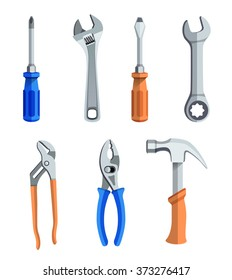 A set of seven different tools for repairs