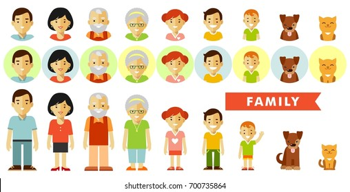 Set of seven family members in flat style. Happy family of seven people and two pets, full length and avatars, isolated on white background