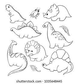 a set of seven funny cartoon dinosaurs for coloring. Black contour on white background. Vector hand drawn
