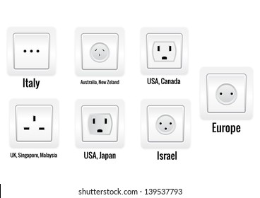 Set of seven international sockets isolated on white background.