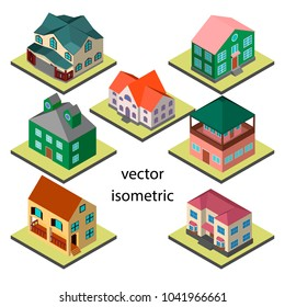 Set of seven original houses in isometric.