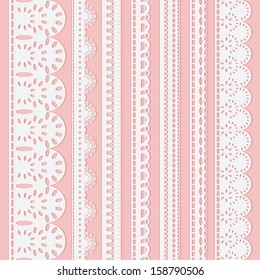 Set of seven seamless white lace ribbons isolated on a pink background. Vector illustration
