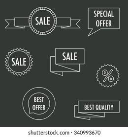 Set of seven vector line sale labels.