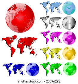 Set of Seven Vector Maps of the world and globes in various colours