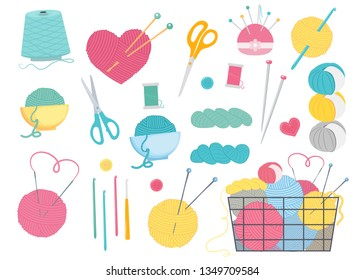 Set for sewing, knitting and needlework.Basket with multi-colored balls of yarn and knitting needles. Vector illustration.Cartoon style