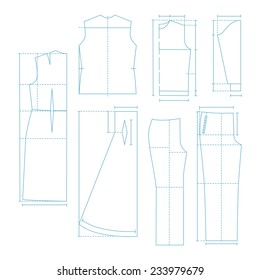 Set of the sewing patterns