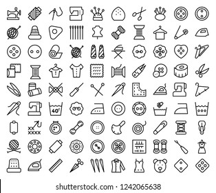 Set of Sewing Related Vector Line Icons.