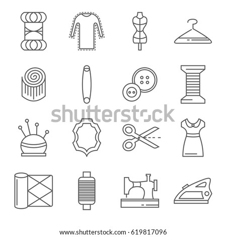 Set Sewing Related Vector Line Icons Stock Vector Royalty Free