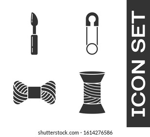 Set Sewing thread on spool, Cutter tool, Sewing thread on spool and Classic closed steel safety pin icon. Vector