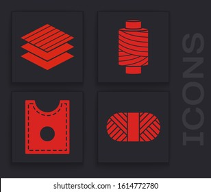 Set Sewing thread on spool, Textile fabric roll, Sewing thread on spool and Sewing Pattern icon. Vector