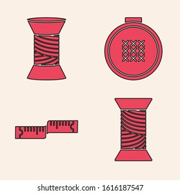 Set Sewing thread on spool, Sewing thread on spool, Round adjustable embroidery hoop and Tape measure icon. Vector