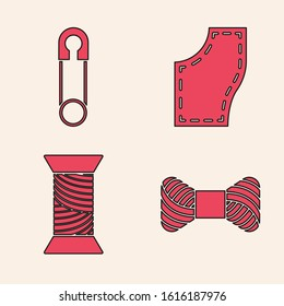 Set Sewing thread on spool, Classic closed steel safety pin, Sewing Pattern and Sewing thread on spool icon. Vector