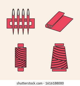 Set Sewing thread on spool, Needle for sewing, Textile fabric roll and Sewing thread on spool icon. Vector