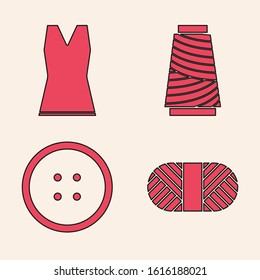 Set Sewing thread on spool, Woman dress, Sewing thread on spool and Sewing button for clothes icon. Vector