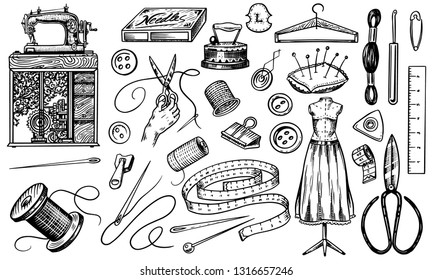 Set of sewing tools and elements or materials for needlework. Handmade equipment. Tailor shop for badges labels. Thread and needle, mannequin. Engraved hand drawn realistic in old vintage sketch.