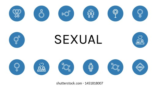Set of sexual icons such as Bisexual, Genderqueer, Bigender, Gay, Transvestite, Androgyne, Female, Lesbian, Gender fluid, Male, Condom , sexual