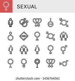 Set of sexual icons such as Female, Male, Gay, Bisexual, Genderless, Gender fluid, Genderqueer, Condom, Third gender, Heterosexual, Bigender, Lesbian, Transvestite, Androgyne , sexual