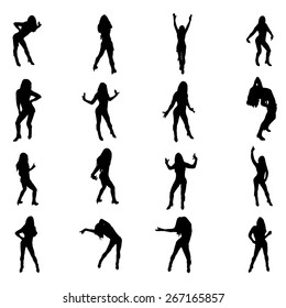 Set of sexy dancer womnen shapes silhouettes