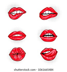 Set of sexy female lips in red glossy lipstick, seductive, kissing, bitten, with tongue, lollipop, cherry, rose, candy. Glamour mouths isolated on white background. Pop art style female sexy mouths.