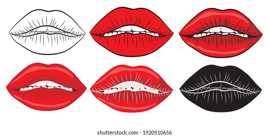 Set of Sexy red lips in red lipstick. Red female lips smiling.Vector illustration.