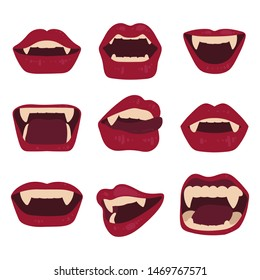 Set of sexy vampire lips isolated on a white background. Mouth with fangs. Halloween Vector illustration.