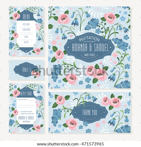 Set Shabby Chic Style Wedding Cards Stock Vector Royalty Free