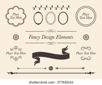 Set of shabby chic vector design elements. Collection of fancy frames, borders, banners, filigree, dividers and copy space text..