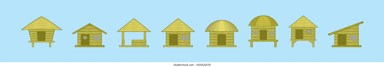 set of shack cartoon icon design template with various models. modern vector illustration isolated on blue background