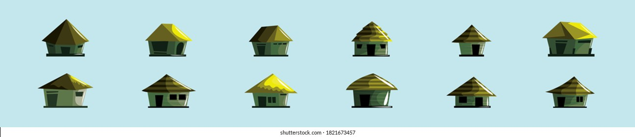 set of shack or huts cartoon icon design template with various models. vector illustration isolated on blue background