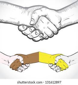 Set of shaking hands - illustration