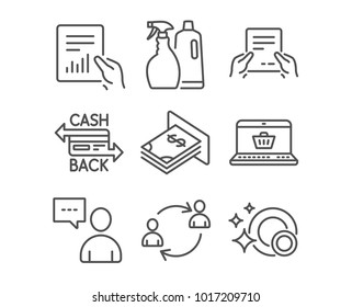 Set of Shampoo and spray, Users chat and Online shopping icons. Cashback card, Document and User communication signs. Atm money, Receive file and Clean dishes symbols. Washing liquids. Vector
