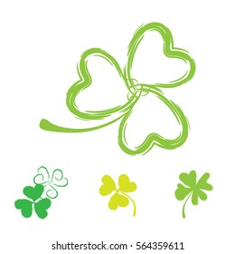 Set of Shamrock Vector Icons for St. Patrick Day. Green Trefoil Illustration Isolated on White Background