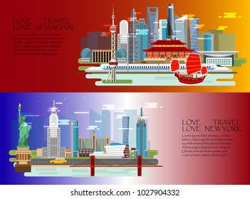 Set of Shanghai  and New york Travel infographic presentation.Flag color background