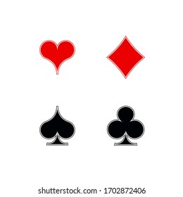 Set shape diamonds, clovers, hearts, spades 4 Playing card suits icons template black and red color editable. Playing card suit symbol pictogram for web design mobile app, isolated on white background