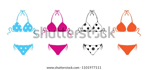 ab97d72ed4a Set of shapely polka dotted bikini bathing suits.Two-piece swimsuits  colored set isolated