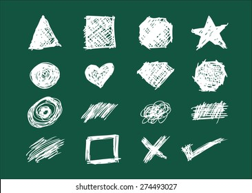 Set of Shapes, Icons and Scratches in Chalkboard style handsketch illustration. Editable EPS10