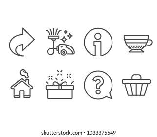 Set of Share, Cappuccino and Vacuum cleaner icons. Question mark, Present box and Shop cart signs. Link, Coffee cup, Vacuum-clean. Help support, Sale offer, Web buying. Vector