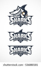 Set of shark mascot for a rugby team. Vector illustration.