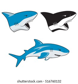 Set of a shark and shark's heads with open jaws in color and black & white