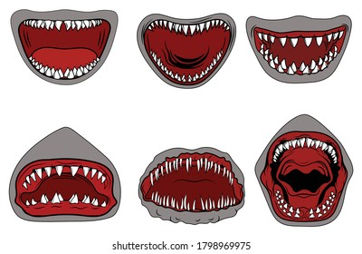 Set of sharks with open mouth. Collection of silhouettes of predatory swimming marine fish. Fish logotype. Jaws of a predatory fish with sharp teeth. Colorful illustration for on white background.