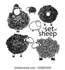 A set of Sheep pen drawing. Vector