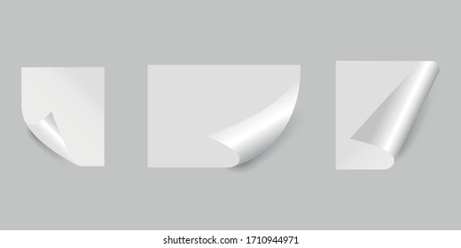 Set of sheets of paper. Curly page corner with shadow on a transparent background. A blank sheet of paper. Vector illustration