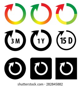 Set of shelf life icon,life time icon,expire ,loop ,recharge, with line with arrow head in  gradient and monochrome color