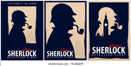 Set of Sherlock Holmes posters. Detective illustration. Illustration with Sherlock Holmes. Baker street 221B. London. Big Ban