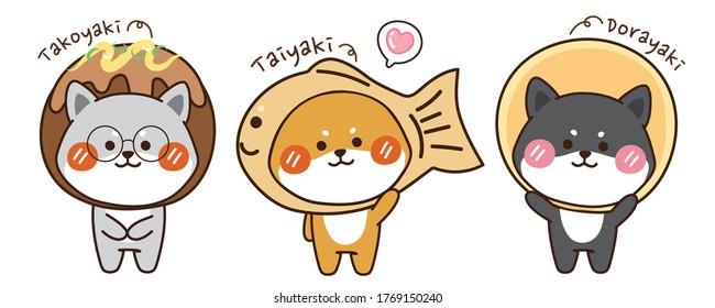 Set of shiba inu dog with costume in cartoon design.Animals charcter hand drawn.Japanese dessert and dog.Kawaii.Vector.Illustration.Illustrator.